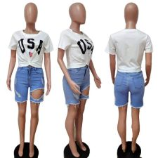 Letter Print Knotted O Neck Short Sleeve T Shirt LSD-81017