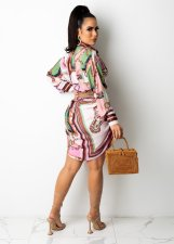 Plus Size Printed Full Sleeve Long Style Shirt Without Belt PIN-8610