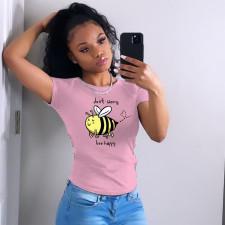 Fashion Simple Pink T-shirt YNB-7205