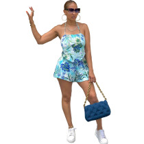 Casual Print Halter Top Shorts Two Piece Sets DFNA-5213