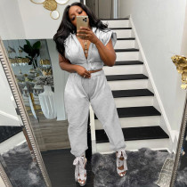 Casual Solid Sleeveless Zipper 2 Piece Pants Set YSYF-7535