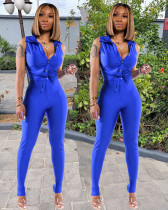 Casual Solid Sleeveless Two Piece Pants Set YYGF-10867