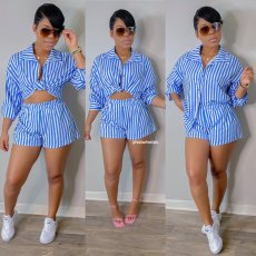 Casual Striped Long Sleeve Shirt Top And Shorts 2 Piece Sets LSD-81028