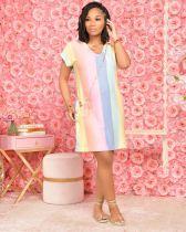 Rainbow Stripe Print V Neck Short Sleeve Loose Dress CHY-1334