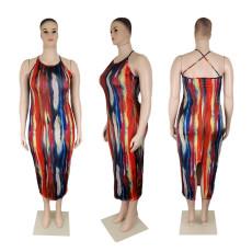 Plus Size Sexy Print Long Dress SHE-7266
