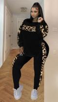 Plus Size Leopard Patchwork Long Sleeve 2 Piece Sets SHA-00003