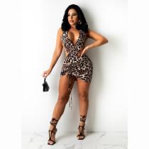Sexy Leopard Halter Backless Drawstring Club Dress CHY-1343