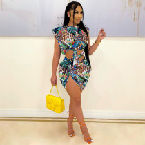 Sexy Print Sleeveless Top And Skirt Two Piece Sets SHE-7277