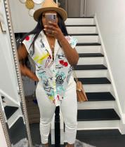Casual Printed Irregular Shirt And Pants 2 Piece Sets MN-9315