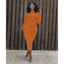 Plus Size Ruched Full Sleeve Midi Skirt 2 Piece Sets IV-8235