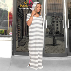 Casual Striped Hooded Short Sleeve Maxi Dress TE-4316