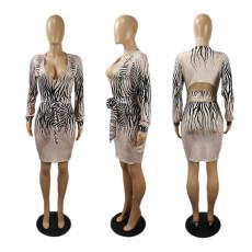 Plus Size Fashion Print Deep V Long Sleeve Dress SHE-7244