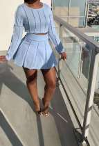 Solid Long Sleeve Mini Skirt Two Piece Sets SMXF-9628