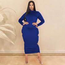 Plus Size Sexy Fashion Hollow Long Sleeve Backless Midi Dress SHE-7245