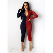 Fashion Contrast Color Splice Jumpsuits SHE-7157