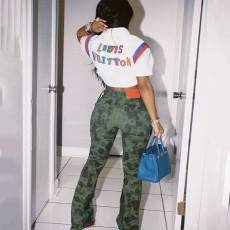 Letter Print Short Sleeve Cropped Shirt Top MLGF-D5051