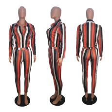 Striped Printed Casual Long Sleeve Shirts Pants 2 Piece Sets SHE-7915