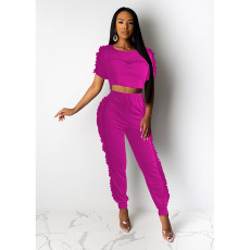 Fashion Solid Color Short Sleeve And Pants 2 Piece Sets SHE-7901