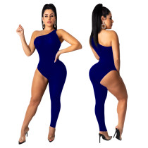 Sexy Asymmetric Solid Color Jumpsuit SHE-7123