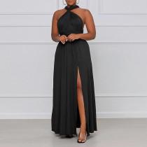 Plus Size Solid Halter High Split Backless Maxi Dress CYA-1644