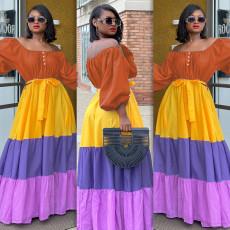 Plus Size Slash Neck High Waist Big Swing Maxi Dress LS-0358