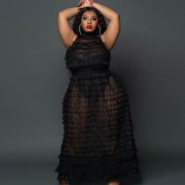 Plus Size Sexy Mesh Sleeveless Maxi Dress+Tube Bodysuit 2 Piece Sets CYA-1649