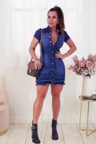 Plus Size Denim Short Sleeve Mini Dress LX-6910