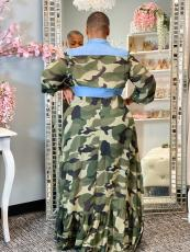 Plus Size Camo Print Long Sleeve Maxi Dress BMF-079