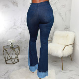 Plus Size Denim Ripped Hole Patchwork Flared Jeans HSF-2585