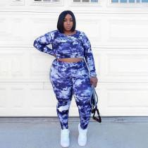 Plus Size Tie Dye Backless Long Sleeve 2 Piece Pants Set WLDF-80348