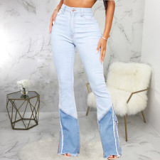 Plus Size Denim Patchwork Slim Jeans HSF-2550