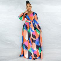 Sexy Printed Backless Long Sleeve Big Swing Maxi Dress YNSF-1670