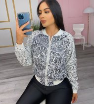 Letter Print Sequined Zipper Long Sleeve Jacket PIN-8611