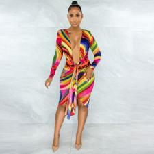 Sexy Printed Long Sleeve Bandage Dress YNSF-1669