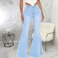 Plus Size Denim Butterfly Decorate Flared Jeans HSF-2576
