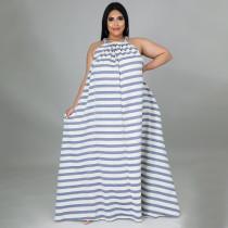 Plus Size Striped Sleeveless Loose Maxi Dress NNWF-7274