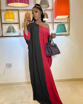 Plus Size Contrast Color Loose Oblique Shoulder Maxi Dress NYF-8081