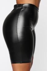 Plus Size Black Tight Leather Shorts BLI-2515