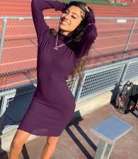 Sexy Solid Long Sleeve Bodycon Dress MWDF-8332