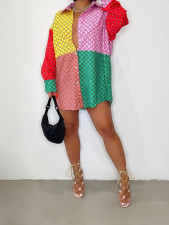 Casual Loose Printed Full Sleeve Shirt Dress BGN-189