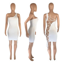 Sexy Solid Color Hollow Bandage Dress MNSF-ML8244