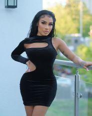 Black Velvet One Shoulder Hollow Mini Dress LSL-6470