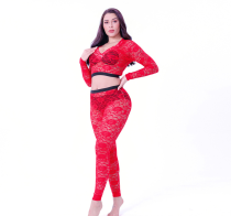 Sexy Solid Lace See Through Long Sleeve 2 Piece Pants Set SHD-9493
