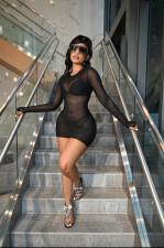Sexy Solid Mesh See Though Club Dress+Bra+Thong 3 Piece Sets MZ-2646