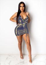 Sexy V Neck Drawstring Sling Club Mini Dress MZ-2614