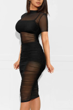 Sexy Mesh See Through Ruched Club Dress With Underwear MZ-2641