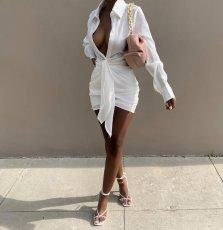 White Folds Long Sleeve Shirt Dress LSL-6467