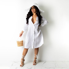 Plus Size Solid Long Sleeve Casual Loose Shirt Dress HNIF-HN038