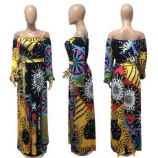 Plus Size Printed Slash Neck Long Sleeve Sashes Maxi Dress BDF-8098