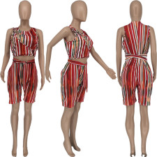 Plus Size Striped Hollow Out Sleeveless Romper BENF-LY8025